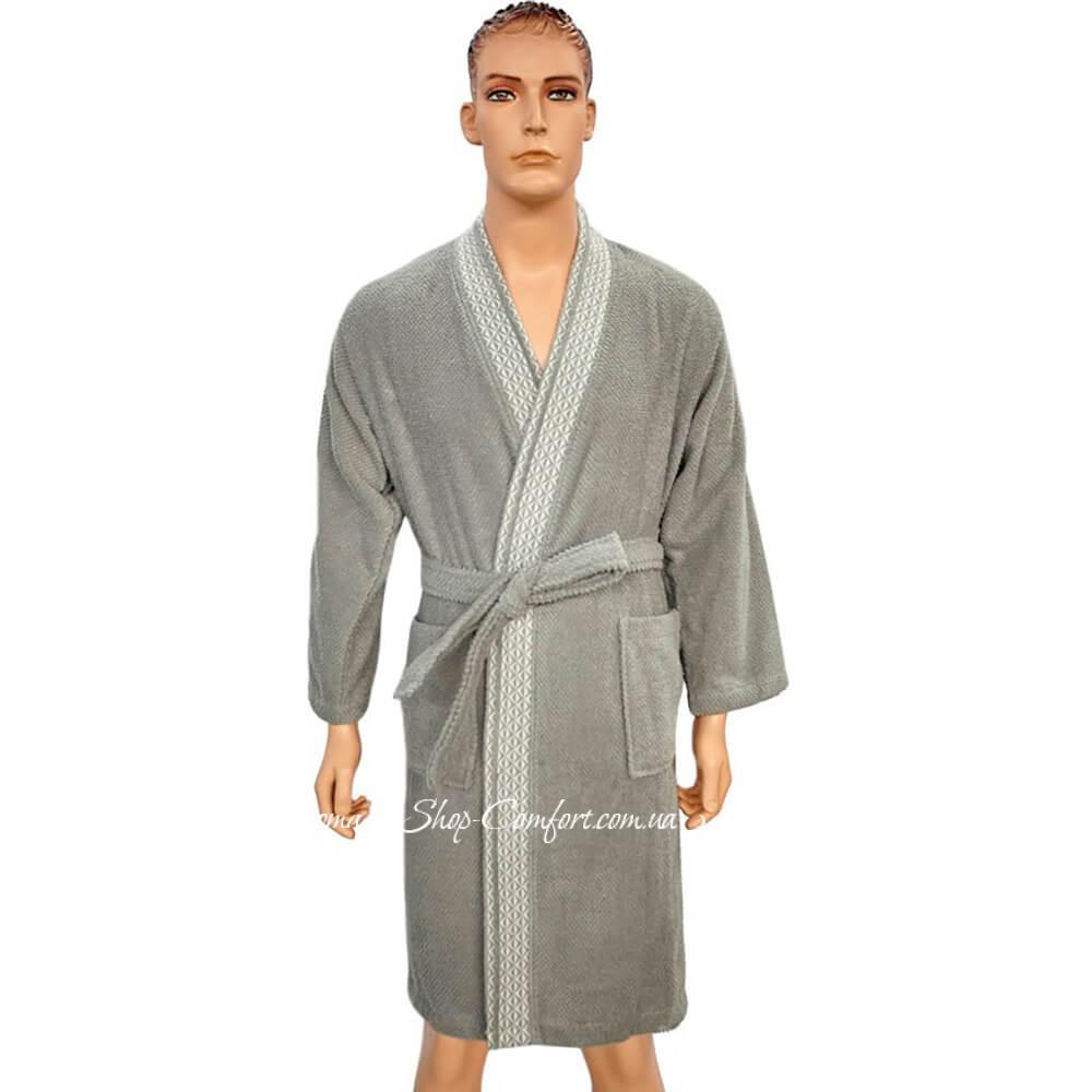 72dd667de7e3 Мужской махровый халат Arya Zeus серый 59612 купить в магазине ...