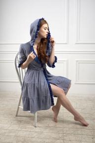 Халат 505 Effetto меланжево-синий