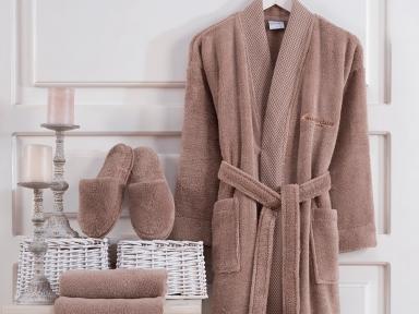 Набор халат с полотенцем и тапочками Marie Claire Jaina brown
