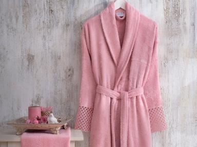 Набор женский халат с кружевом и полотенце Marie Claire Valerie pink