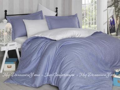 Постельное белье Hobby Diamond Damask голубой-кремовый евро