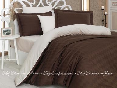 Постельное белье Hobby Diamond Bulut коричневый-кремовый евро
