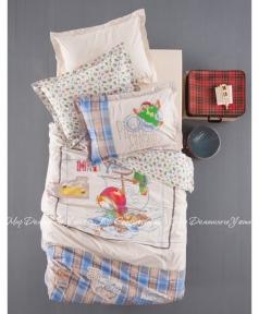 Детское постельное белье Karaca Home Matey (голубое) ранфорс полуторный