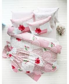 Постельное белье Karaca Home Piaf розовый ранфорс полуторный