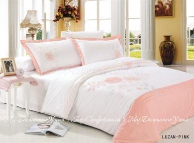 Постельное белье Le Vele Luzan (розовое) сатин с вышивкой евро