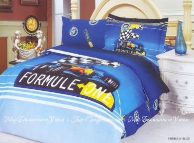 Детское постельное белье Le Vele Formula (голубое) сатин полуторный