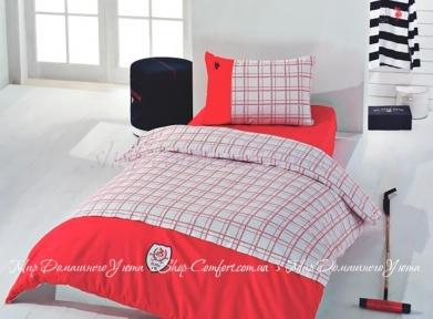 Постельное белье U.S.Polo Assn Hobbs (красный) сатин полуторный