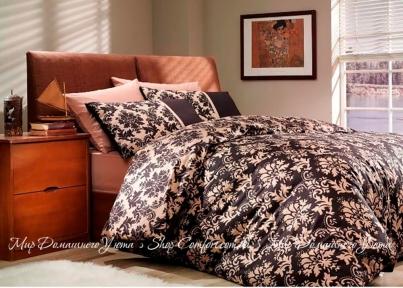 Постельное белье Hobby Avangarde коричневое поплин евро
