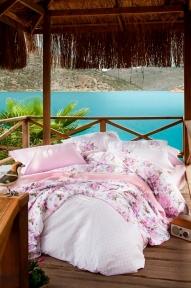 Постельное белье Karaca Home Lauren розовый ранфорс полуторный