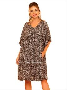 Летнее платье из вискозы свободного кроя Cocoon P10953