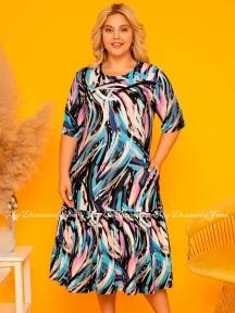 Длинное летнее платье из вискозы Cocoon P20706 голубое