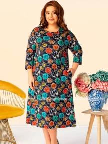 Длинное трикотажное платье с рукавом 3/4 Cocoon P26152