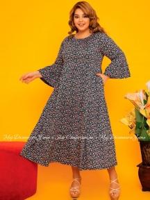 Летнее длинное платье Cocoon P27054 синее