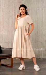 Длинное летнее льняное платье с коротким рукавом Cocoon S20429