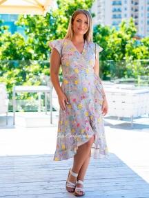 Летнее льняное платье на запах Lingerie 170443 бежевое