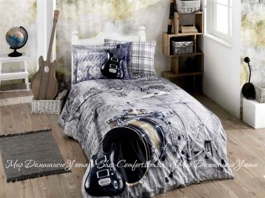 Постельное белье Hobby Poplin Rock Music Серый Полуторный (8698499141070)