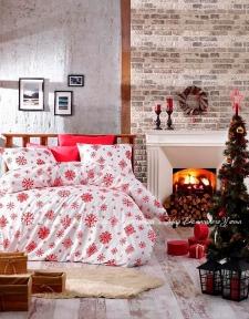 Постельное белье фланель Belizza Snow red евро красное
