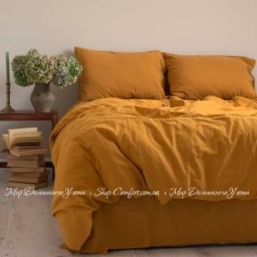 Постельное белье вареный хлопок Limasso Stonewash Standart евро mustard