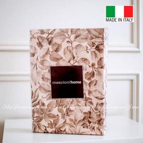 Постельное белье сатин люкс Mascioni Messina евро 200x220 бежевое