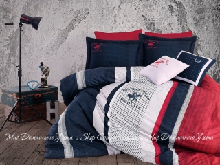 Постельное белье Beverly Hills Polo Club ранфорс BHPC 023 dark blue евро